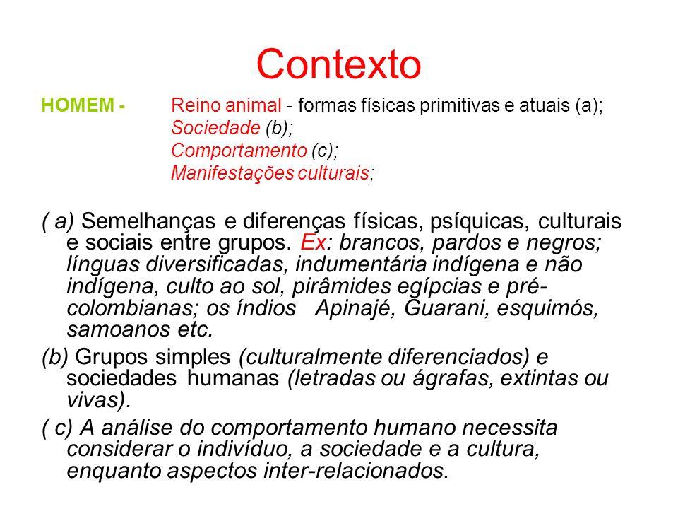 Contexto HOMEM - Reino animal - formas físicas primitivas e atuais (a); Sociedade (b); Comportamento (c);