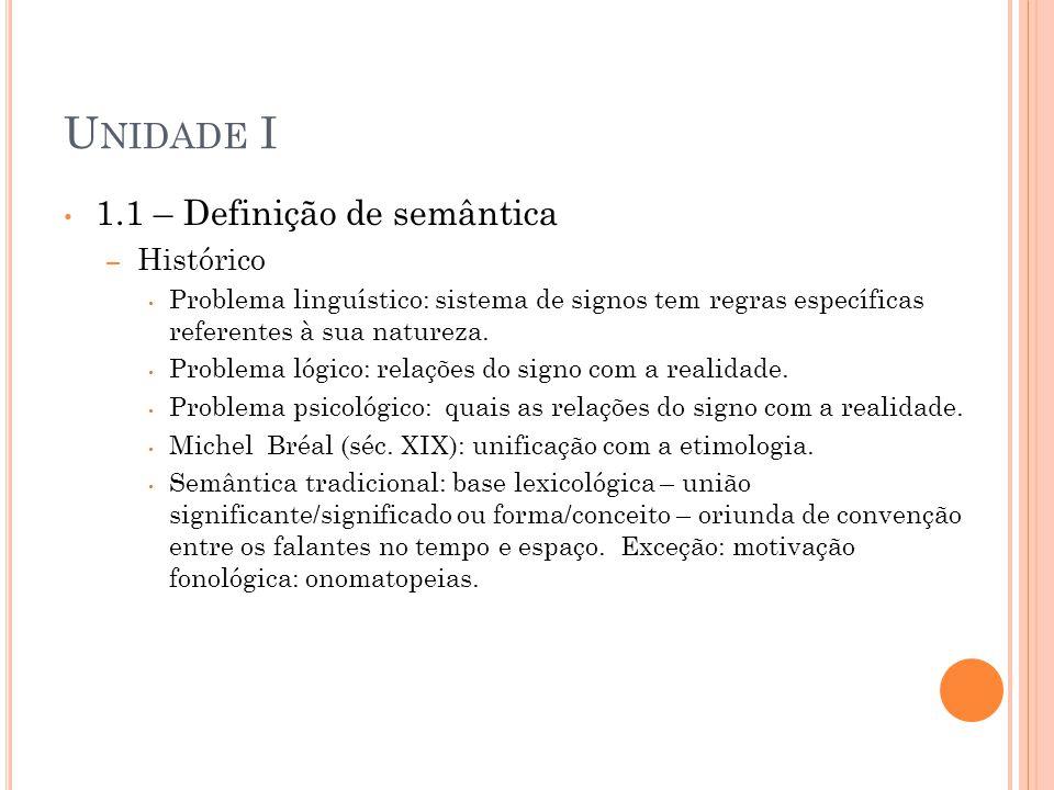 Unidade I 1.1 – Definição de semântica Histórico