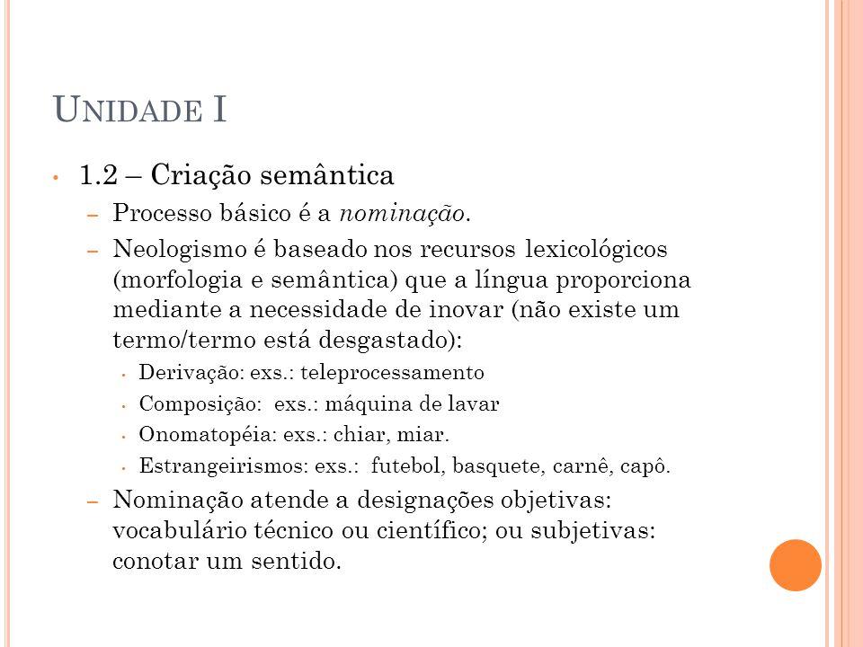Unidade I 1.2 – Criação semântica Processo básico é a nominação.