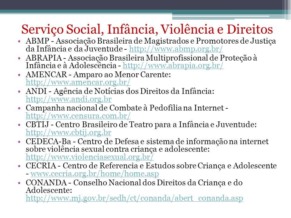 Serviço Social, Infância, Violência e Direitos