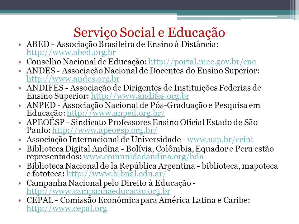 Serviço Social e Educação