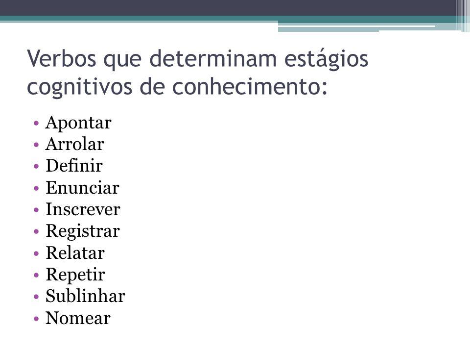 Verbos que determinam estágios cognitivos de conhecimento: