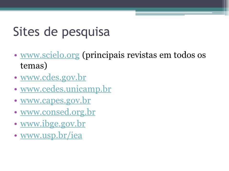 Sites de pesquisa www.scielo.org (principais revistas em todos os temas) www.cdes.gov.br. www.cedes.unicamp.br.