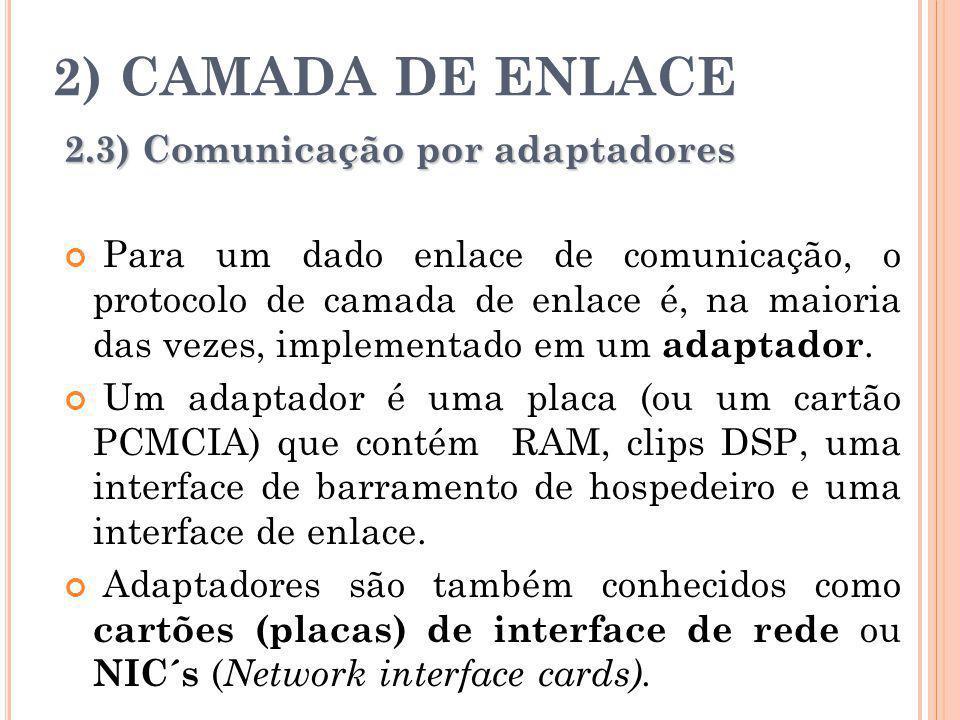 2) CAMADA DE ENLACE 2.3) Comunicação por adaptadores