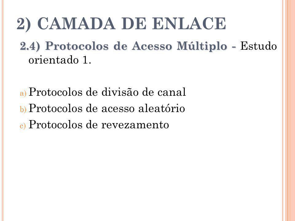 2) CAMADA DE ENLACE 2.4) Protocolos de Acesso Múltiplo - Estudo orientado 1. Protocolos de divisão de canal.