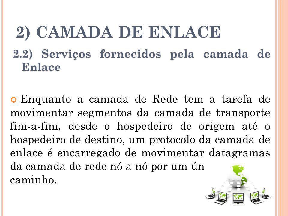2) CAMADA DE ENLACE 2.2) Serviços fornecidos pela camada de Enlace