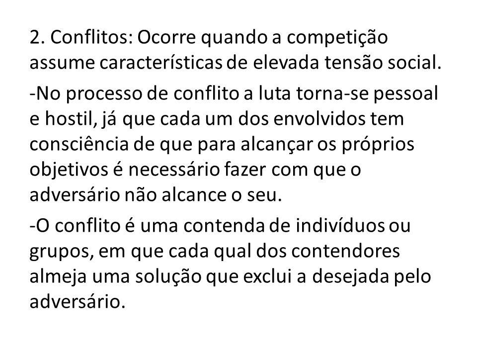 2. Conflitos: Ocorre quando a competição assume características de elevada tensão social.