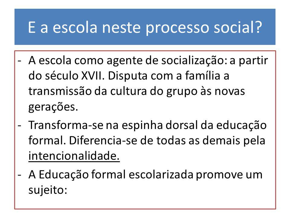 E a escola neste processo social