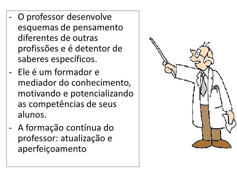 O professor desenvolve esquemas de pensamento diferentes de outras profissões e é detentor de saberes específicos.