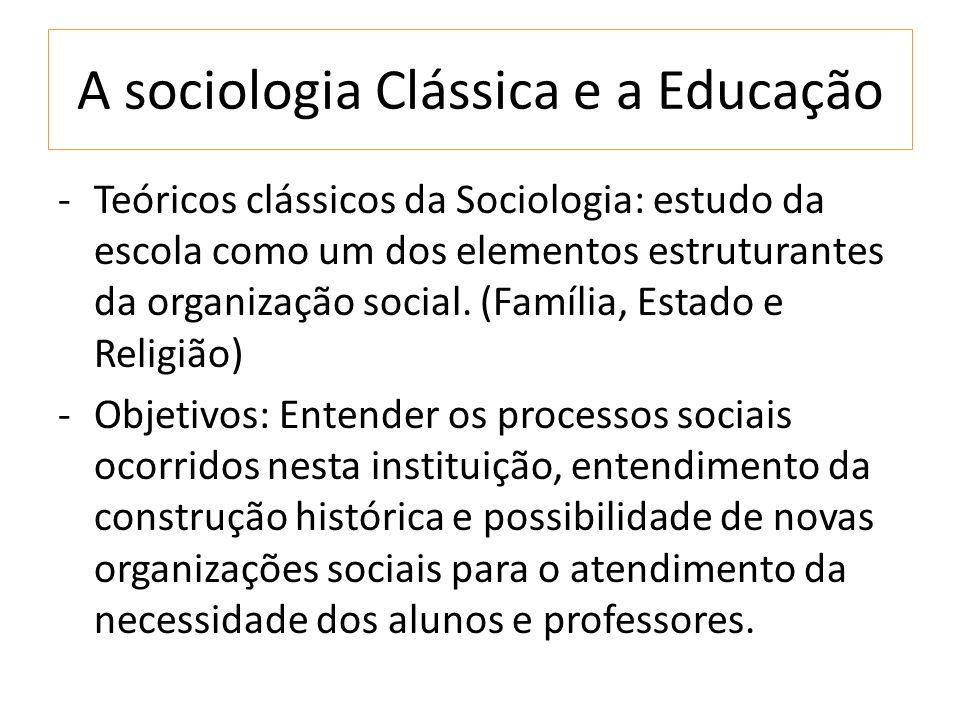A sociologia Clássica e a Educação