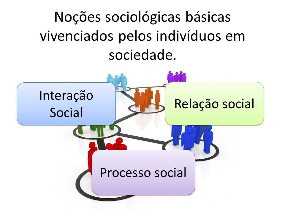 Noções sociológicas básicas vivenciados pelos indivíduos em sociedade.