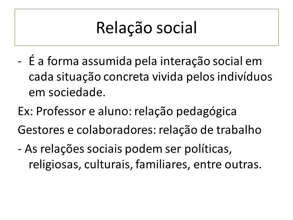 Relação social É a forma assumida pela interação social em cada situação concreta vivida pelos indivíduos em sociedade.