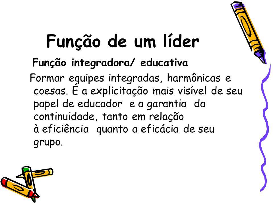 Função de um líder Função integradora/ educativa