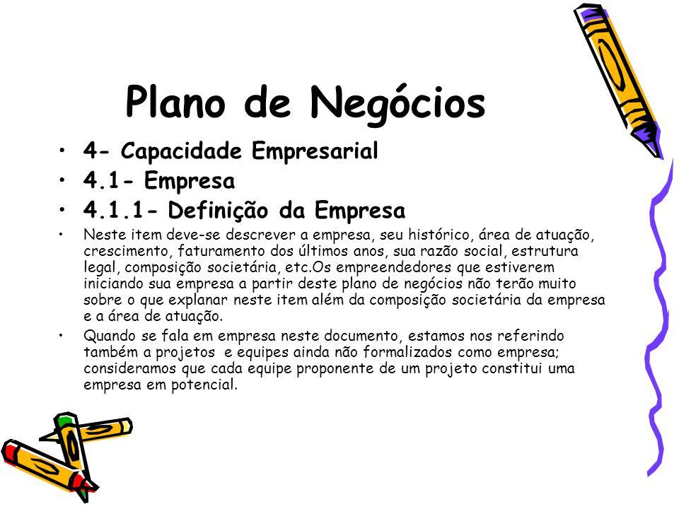 Plano de Negócios 4- Capacidade Empresarial 4.1- Empresa