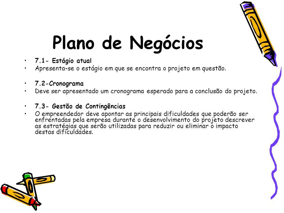 Plano de Negócios 7.1- Estágio atual