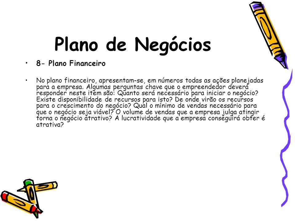 Plano de Negócios 8- Plano Financeiro