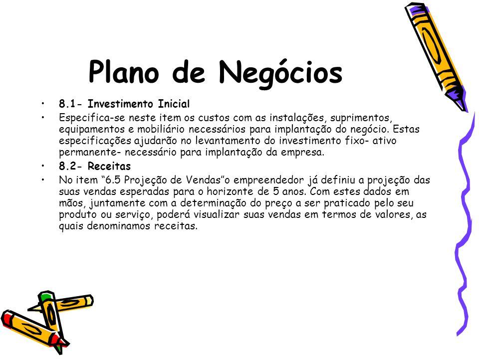 Plano de Negócios 8.1- Investimento Inicial