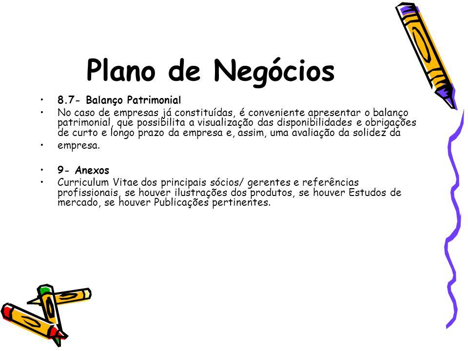 Plano de Negócios 8.7- Balanço Patrimonial