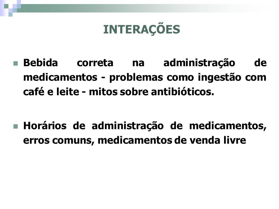 INTERAÇÕES Bebida correta na administração de medicamentos - problemas como ingestão com café e leite - mitos sobre antibióticos.