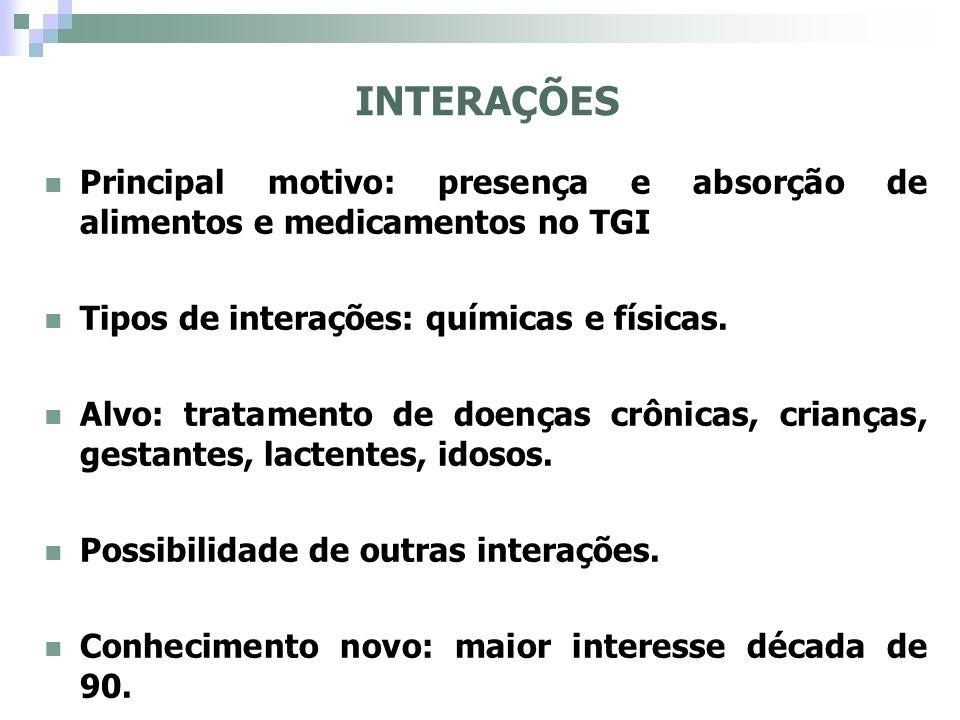INTERAÇÕES Principal motivo: presença e absorção de alimentos e medicamentos no TGI. Tipos de interações: químicas e físicas.
