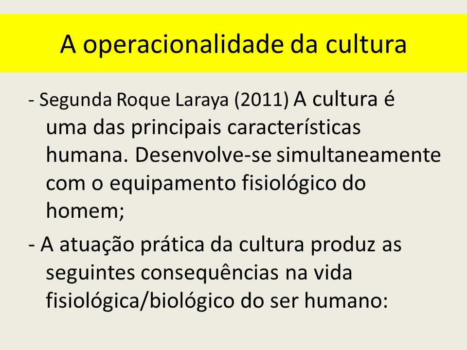 A operacionalidade da cultura
