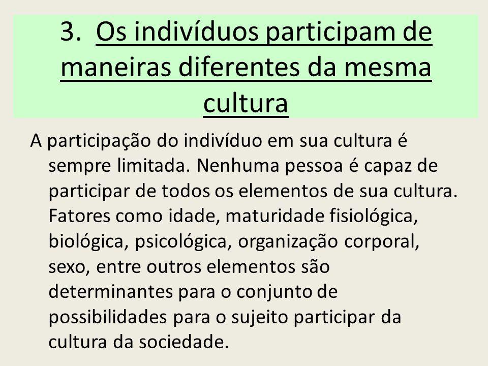 3. Os indivíduos participam de maneiras diferentes da mesma cultura
