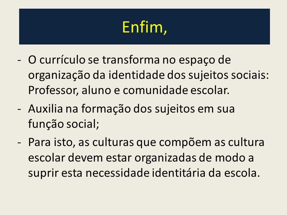 Enfim, O currículo se transforma no espaço de organização da identidade dos sujeitos sociais: Professor, aluno e comunidade escolar.
