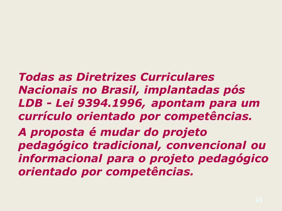 Todas as Diretrizes Curriculares Nacionais no Brasil, implantadas pós LDB - Lei 9394.1996, apontam para um currículo orientado por competências.