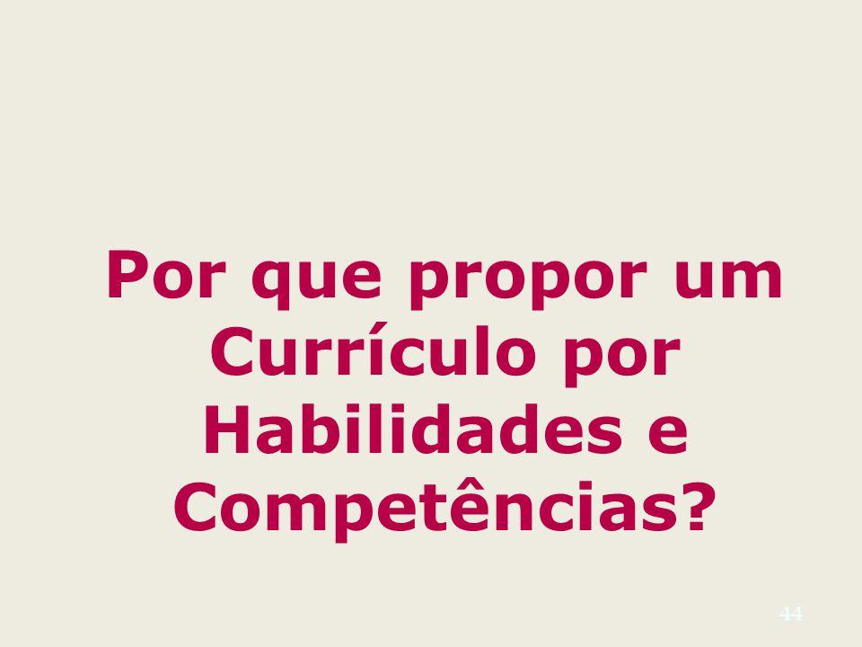 Por que propor um Currículo por Habilidades e Competências