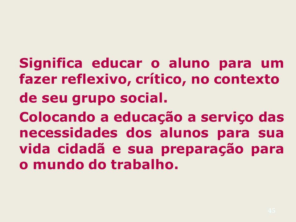 Significa educar o aluno para um fazer reflexivo, crítico, no contexto