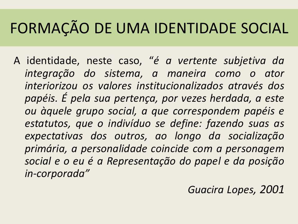 FORMAÇÃO DE UMA IDENTIDADE SOCIAL
