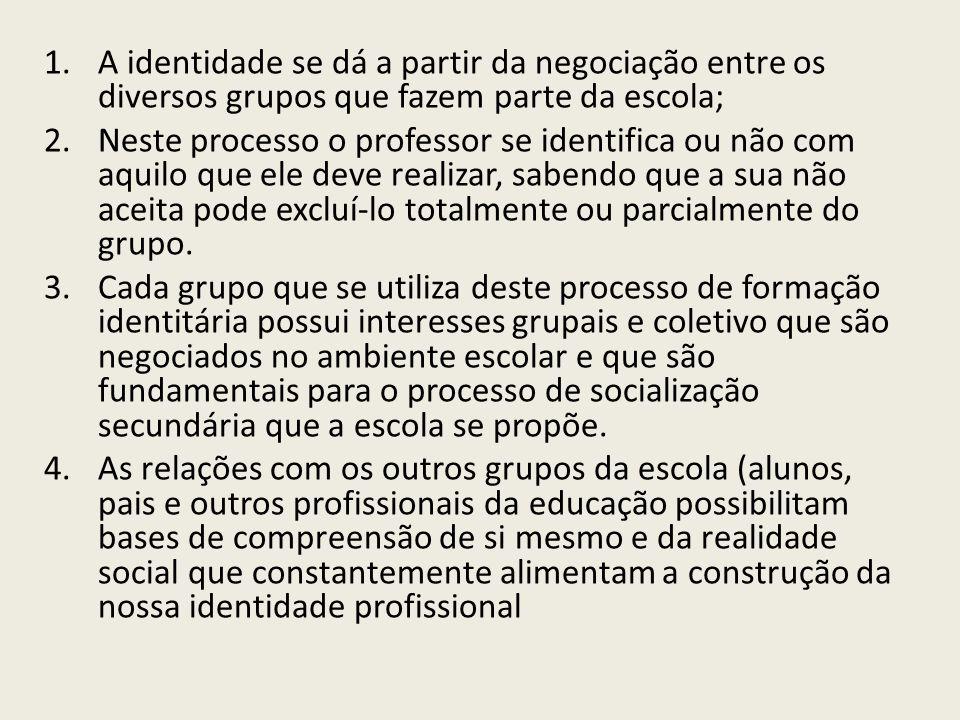 A identidade se dá a partir da negociação entre os diversos grupos que fazem parte da escola;