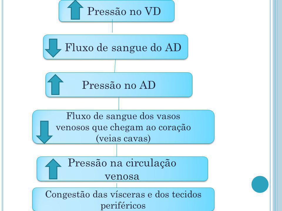 Pressão no VD Fluxo de sangue do AD Pressão no AD