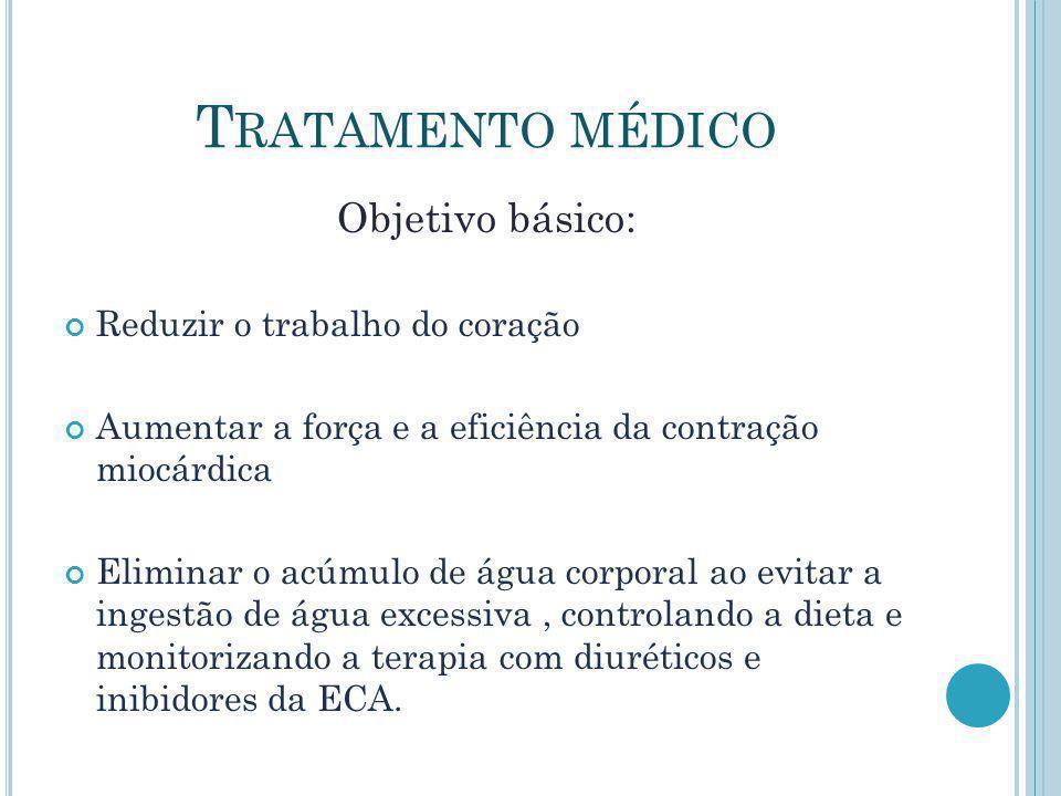 Tratamento médico Objetivo básico: Reduzir o trabalho do coração
