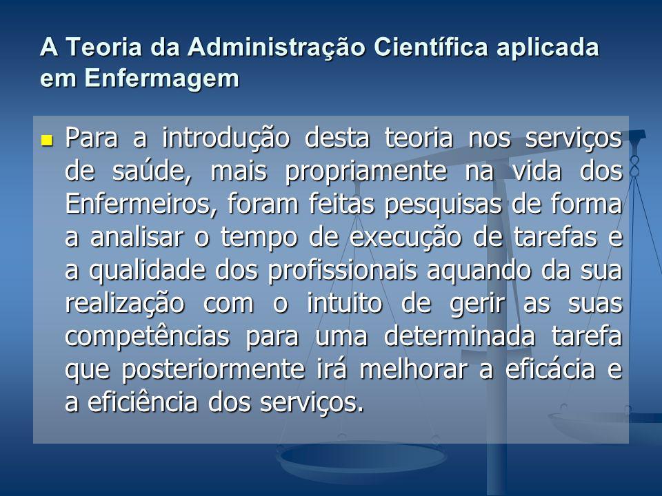 A Teoria da Administração Científica aplicada em Enfermagem