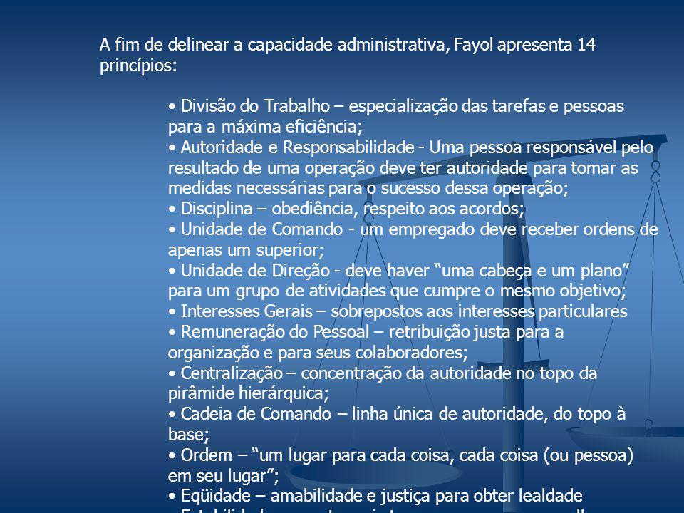 A fim de delinear a capacidade administrativa, Fayol apresenta 14 princípios: