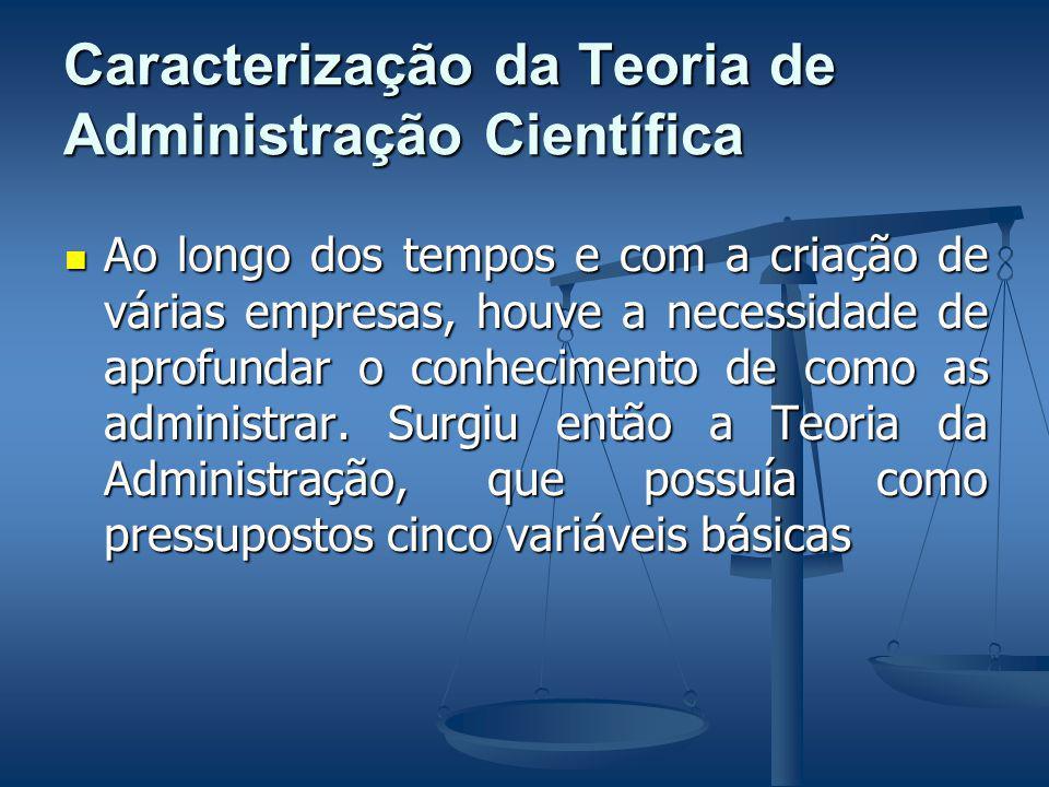 Caracterização da Teoria de Administração Científica