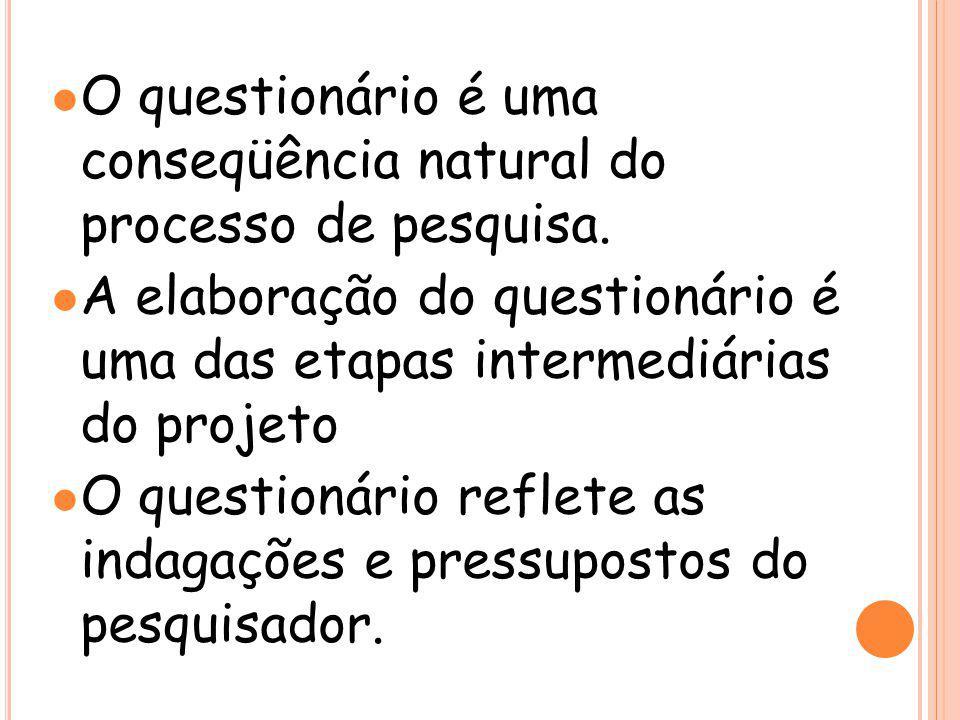 O questionário é uma conseqüência natural do processo de pesquisa.