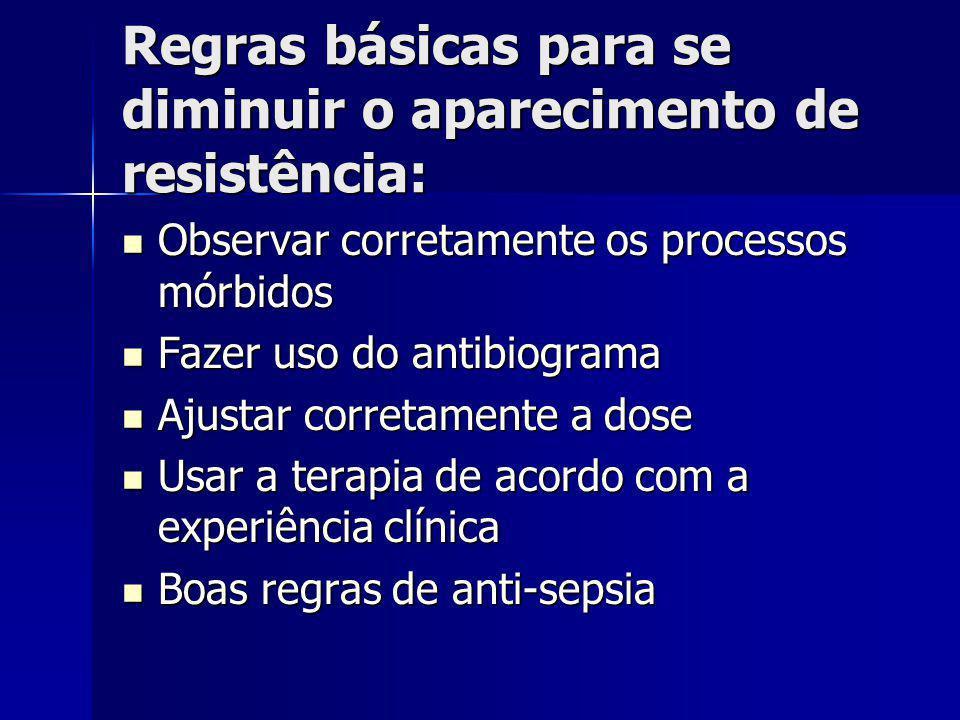 Regras básicas para se diminuir o aparecimento de resistência: