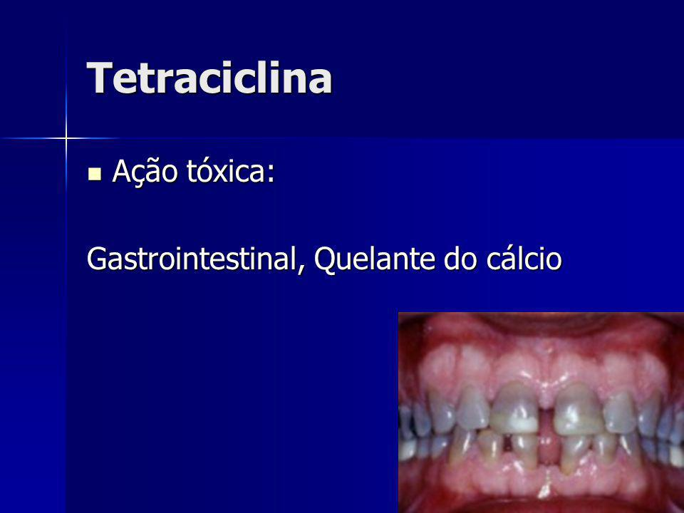 Tetraciclina Ação tóxica: Gastrointestinal, Quelante do cálcio