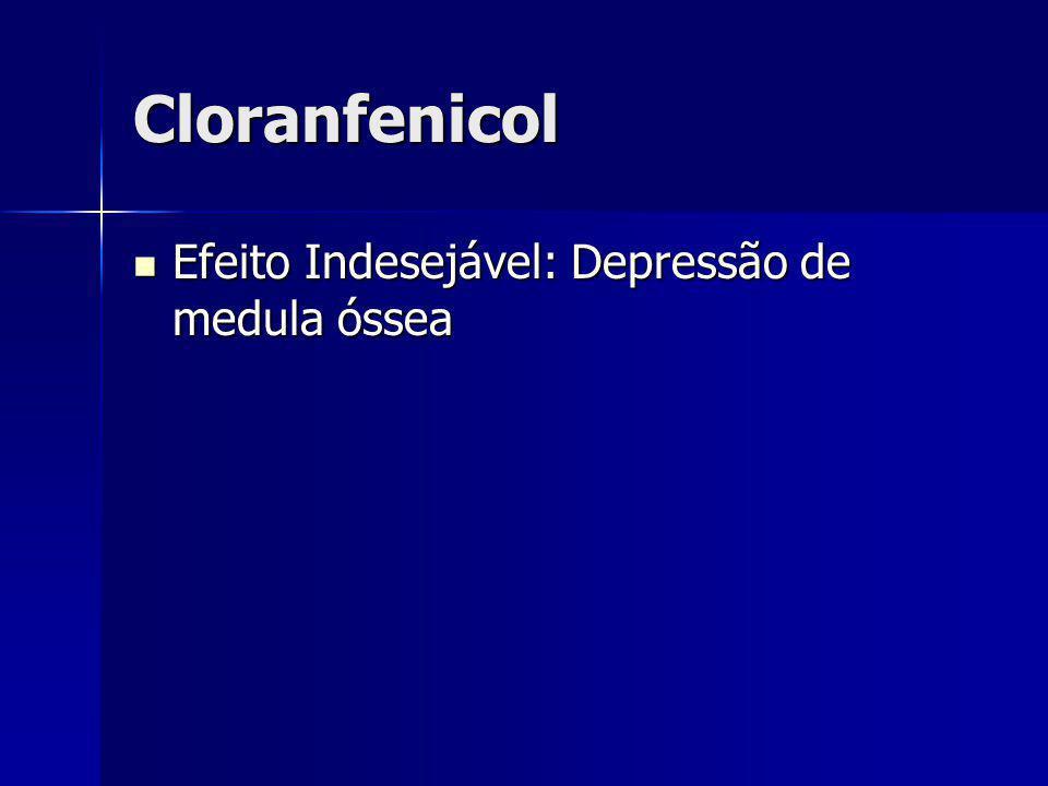 Cloranfenicol Efeito Indesejável: Depressão de medula óssea