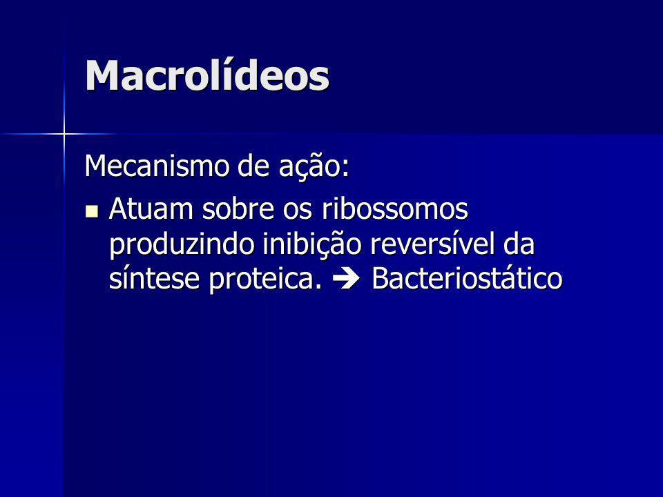 Macrolídeos Mecanismo de ação: