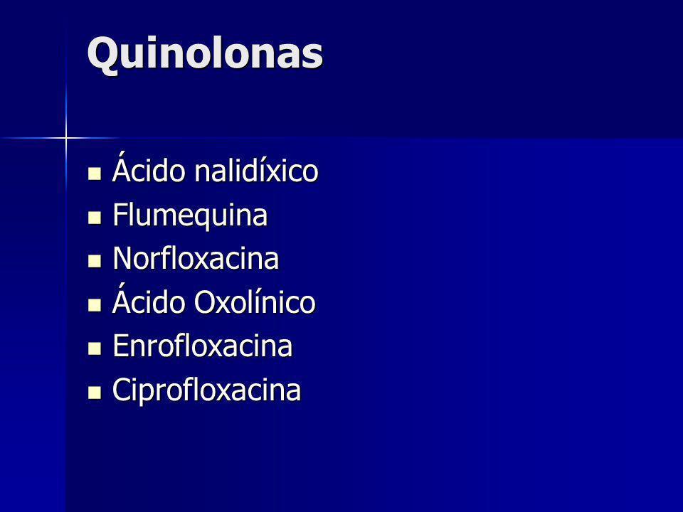 Quinolonas Ácido nalidíxico Flumequina Norfloxacina Ácido Oxolínico
