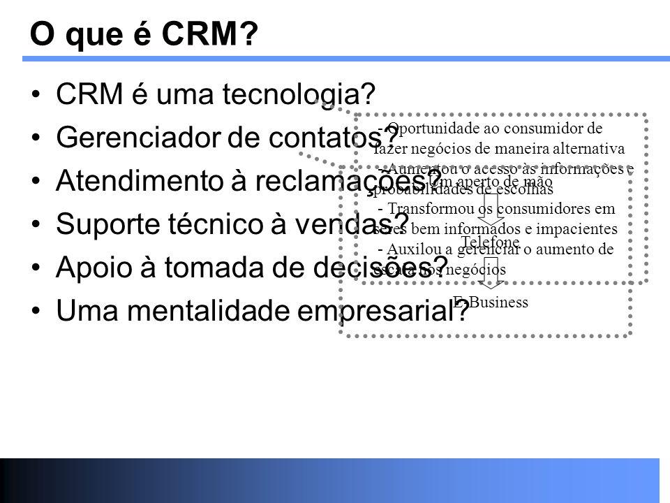 O que é CRM CRM é uma tecnologia Gerenciador de contatos