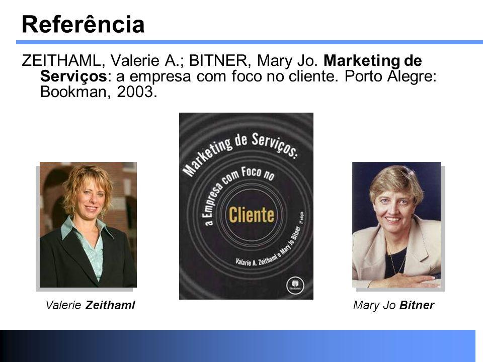 Referência ZEITHAML, Valerie A.; BITNER, Mary Jo. Marketing de Serviços: a empresa com foco no cliente. Porto Alegre: Bookman, 2003.