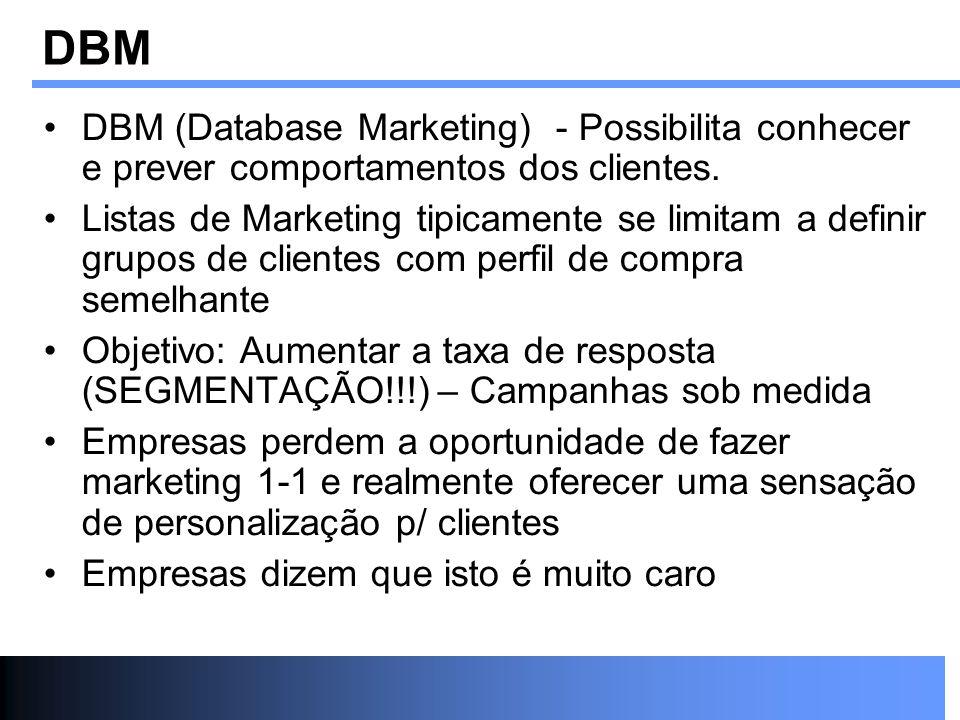 DBM DBM (Database Marketing) - Possibilita conhecer e prever comportamentos dos clientes.