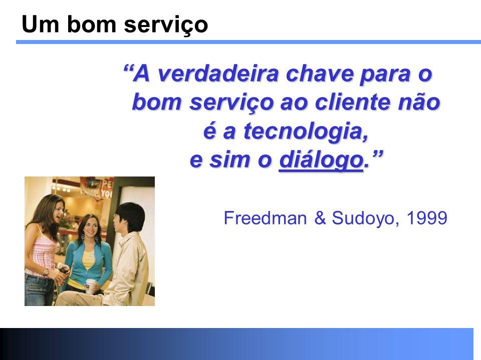 Um bom serviço A verdadeira chave para o bom serviço ao cliente não é a tecnologia, e sim o diálogo.