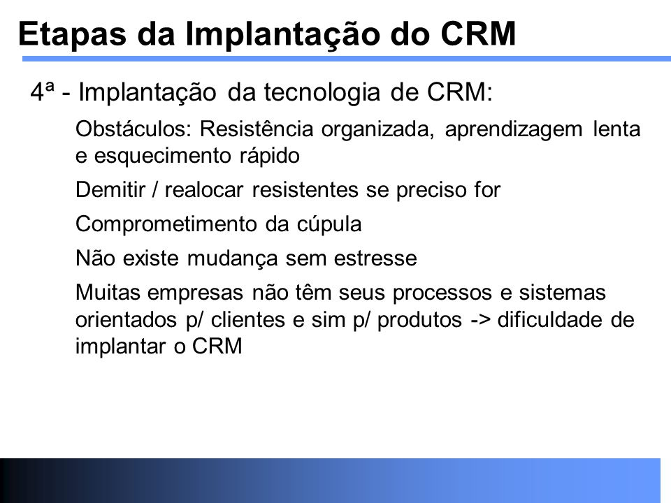Etapas da Implantação do CRM