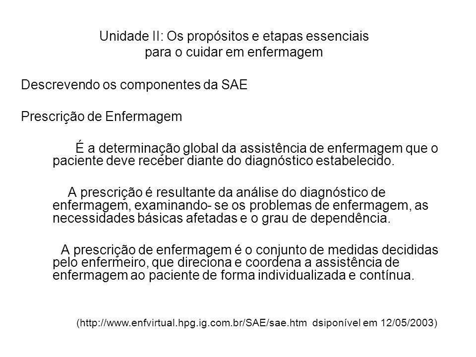 Descrevendo os componentes da SAE Prescrição de Enfermagem