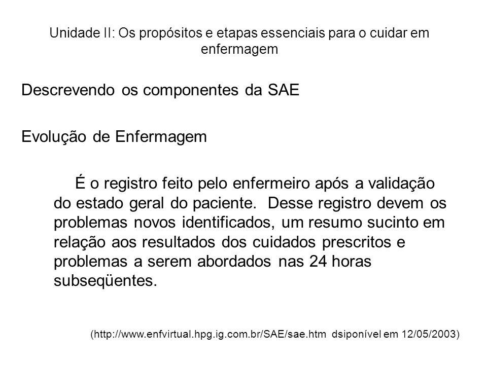 Descrevendo os componentes da SAE Evolução de Enfermagem